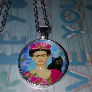 Jewelry - GLASS CABACHON FRIDA KAHLO PENDANT CHAIN MEDALLION